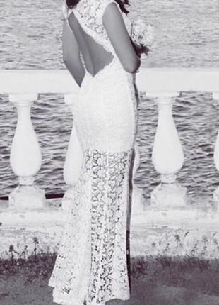 Свадебное/вечернее платье m (цвет шампань)