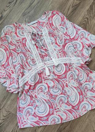 Блуза туника футболка кофточка летняя женская с принтом пейсли турецкий огурец батал