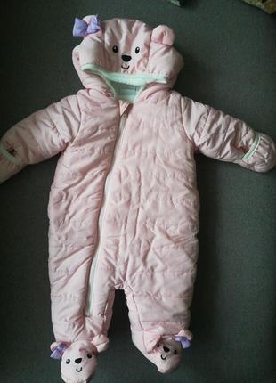Мягунький,нежно розовый комбез для девочки