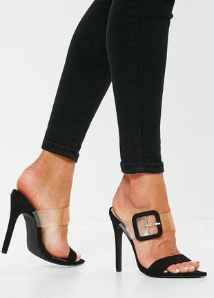 Шлепки шлепанцы на каблуке мюли с открытым носком missguided