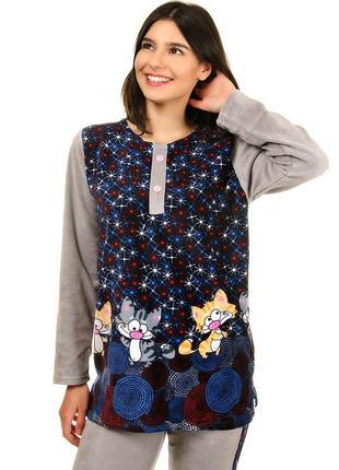 Женская велюровая пижама с котиками велюр на хлопковой основе (504б)