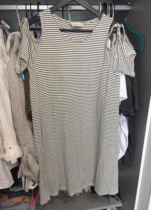 Классное летнее трикотажное платье с плечиками завязками f&f