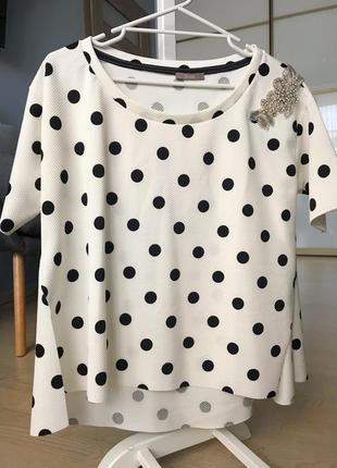Блуза белая в горошек dixie италия