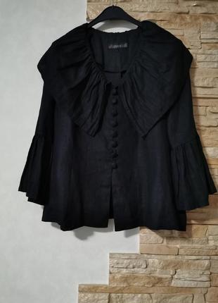 Шикарная оригинальная льняная блузка