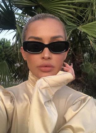 Очки окуляри винтажные в стиле 90-х трендовые черные солнцезащитные новые3 фото