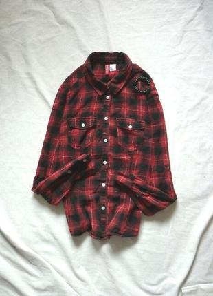 Черно-крвсная рубашка в клетку divided