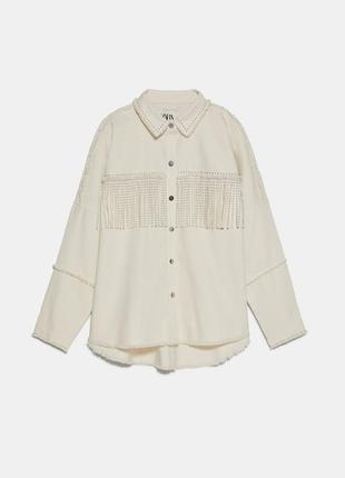 Zara куртка джинсовая с бахромой новая