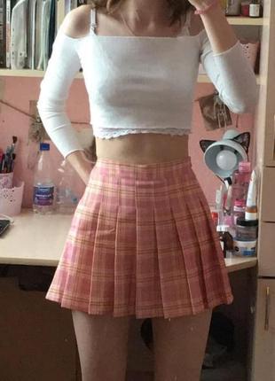 Юбка с шортами аниме в клеточку1 фото