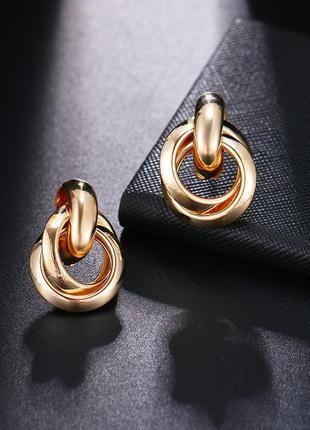 Cерьги серёжки винтаж винтажные ретро кольца под золото новые качественные4 фото