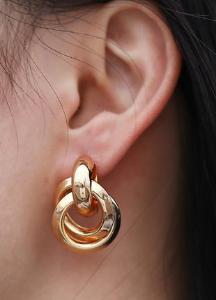 Cерьги серёжки винтаж винтажные ретро кольца под золото новые качественные3 фото