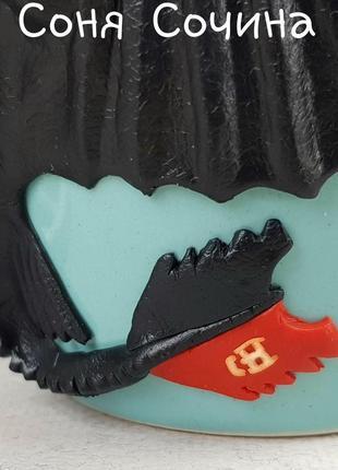 Цветная кружка с декором дракон беззубик из полимерной глины6 фото