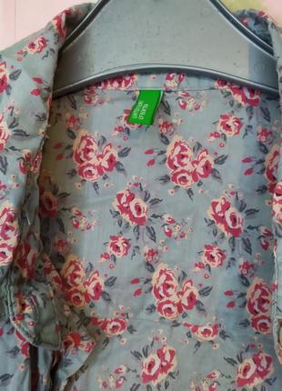 Рубашка в розах хлопок тренд принт