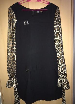Платье с леопардовыми рукавами
