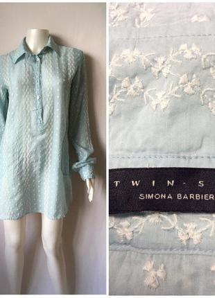Simona barbieri красивая рубашка с вышивкой из шёлка и котона