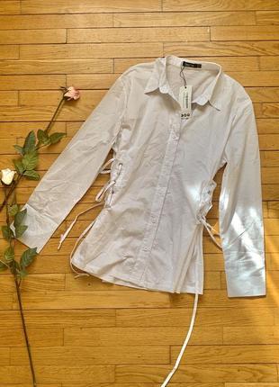 Рубашка boohoo размер 12 40 l белый
