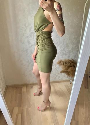 Сарафан с открытой спиной , платье в обтяжку , миди