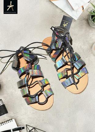 Гладиаторы сандали босоножки на завязках-резинках atmosphere