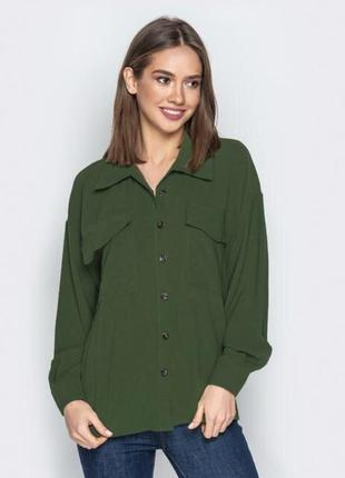 Рубашка темно хаки/ темно зелёного цвета