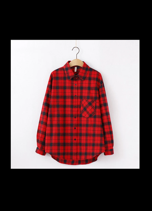 Красная мягкая рубашка в клетку от teana wine