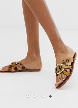 Натуральные кожаные леопардовые шлепки шлепанцы warehouse кожа