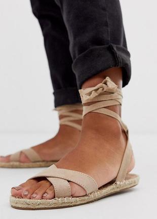 Босоножки сандалии эспадрильи с завязками асос asos