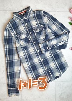 1+1=3 фирменная рубашка в клетку блуза блузка с длинным рукавом superdry, размер 44 - 46
