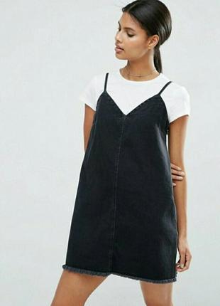 Крутой джинсовый сарафан /слип платье / сарафан дымчато-чорного цвета