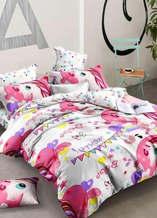 Детский постельный комплект пони единорог ранфорс