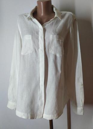 Рубашка белая лен льняная свободного кроя