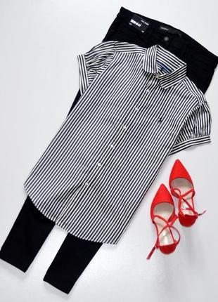 Стильная рубашка с коротким рукавом в вертикальную полоску,оригинал