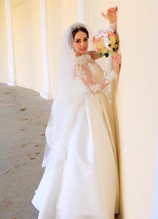 Свадебное платье, атласное свадебное платье