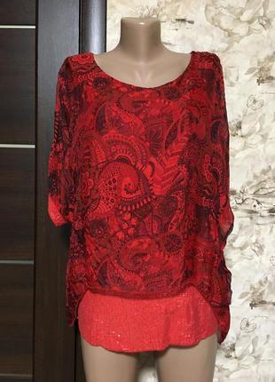 Акция!!!лёгкая шёлковая блуза с паетками,италия!!