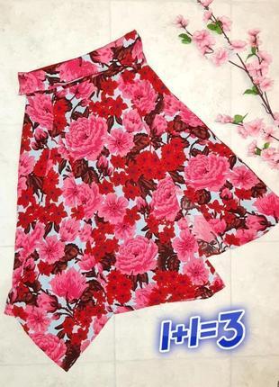 1+1=3 крутая юбка миди zara с разрезом цветочный принт, завышеная посадка, размер 44 - 46