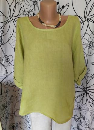 Оливковая итальянская блуза 100%лен, бохо,реглан