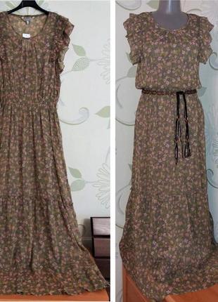 Шифоновое платье макси в пол с воланом ярусами и рюшами peacocks