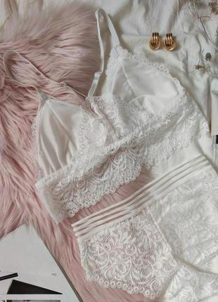 Набор комплект белья топ бра бюстгальтер трусики бикини хипстер кружево качественный белый6 фото