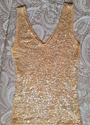 Золот маечка паетки бисер топ блестящ майка c2c cedosce блеск испания летн блуз кофт наряд