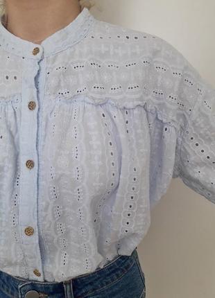 Хлопковая блуза прошва на кокетке свободного кроя италия, р.m-l