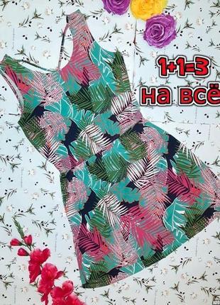 🎁1+1=3 стильное короткое платье до колена с листьями george, размер 48 - 50