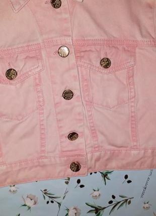 🎁1+1=3 стильная пудрово-розовая укороченная джинсовая куртка topshop, размер 42 - 442 фото