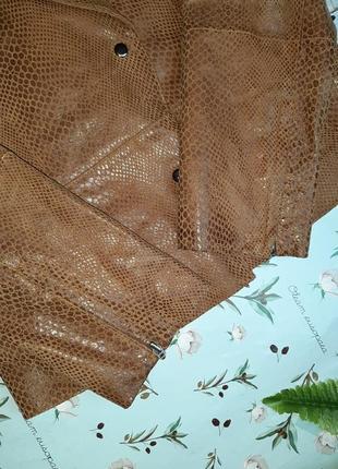 🎁1+1=3 кожаная куртка косуха натуральная кожа oxzone под питона, размер 44 - 463 фото
