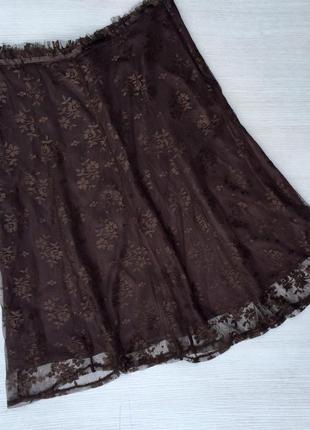 Красивая гипюровая,кружевная юбка миди h&m