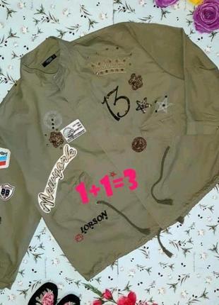 🎁1+1=3 крутая трендовая куртка парка хаки с нашивками collouseum демисезон, размер 52 - 54