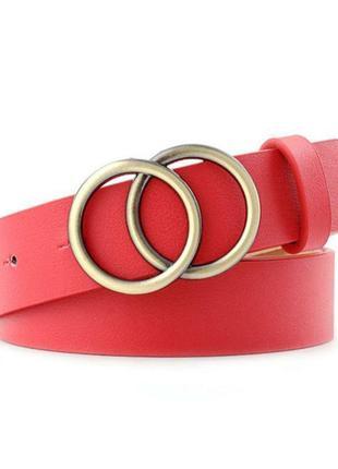 Красный ❤ ремень ❤ с золотой 💫 фурнитурой 💛