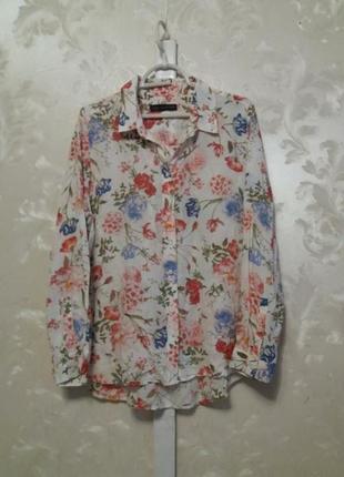 Тоненькая вискозная рубашка в цветочный принт m&s1 фото