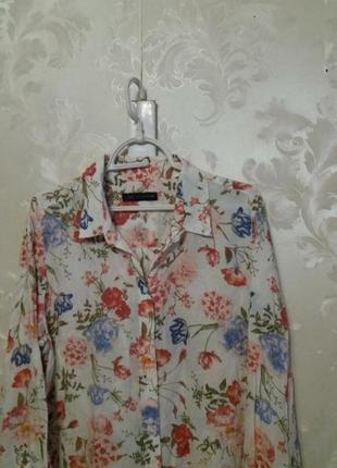 Тоненькая вискозная рубашка в цветочный принт m&s3 фото