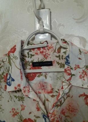 Тоненькая вискозная рубашка в цветочный принт m&s4 фото