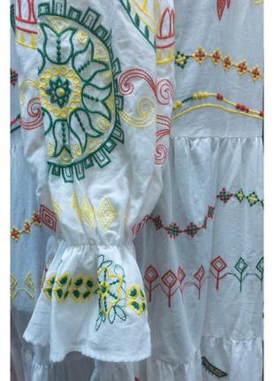 Вышитое хлопковое летнее платье5 фото
