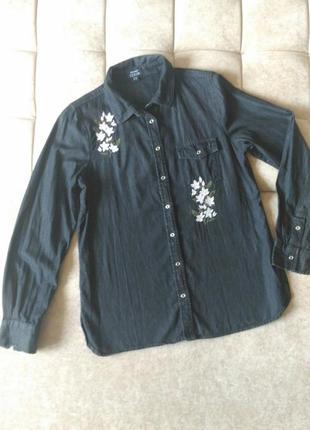 Джинсовая женская чёрная рубашка denim select с вышивкой, р.12