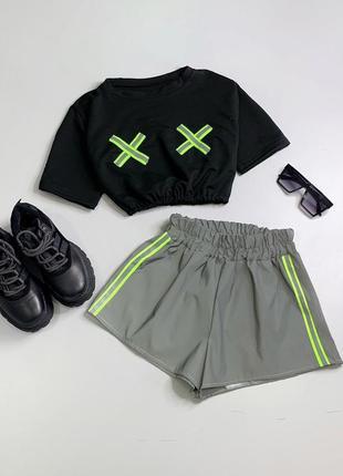 Шикарный светоотражающий костюм шорты и футболка рефлективный